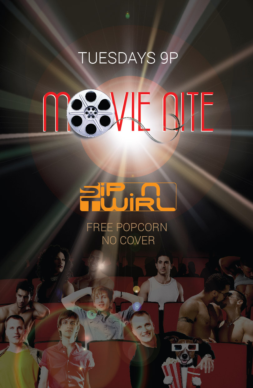 <b>Movie Nite</b> Tuesdays<br>Free Popcorn, <b>No Cover</b>