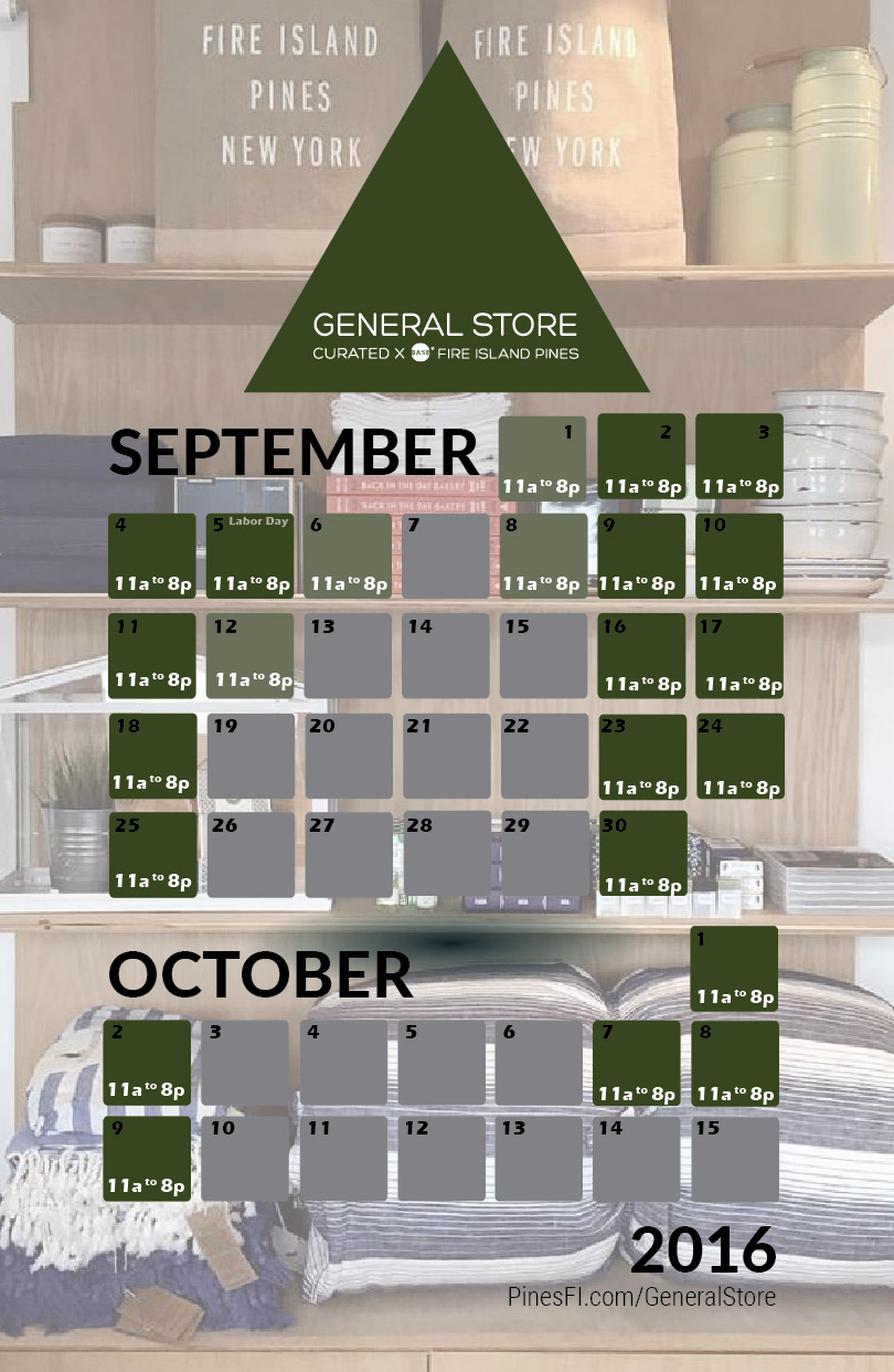 <b>General Store</b>, by BASE – Late Season Schedule