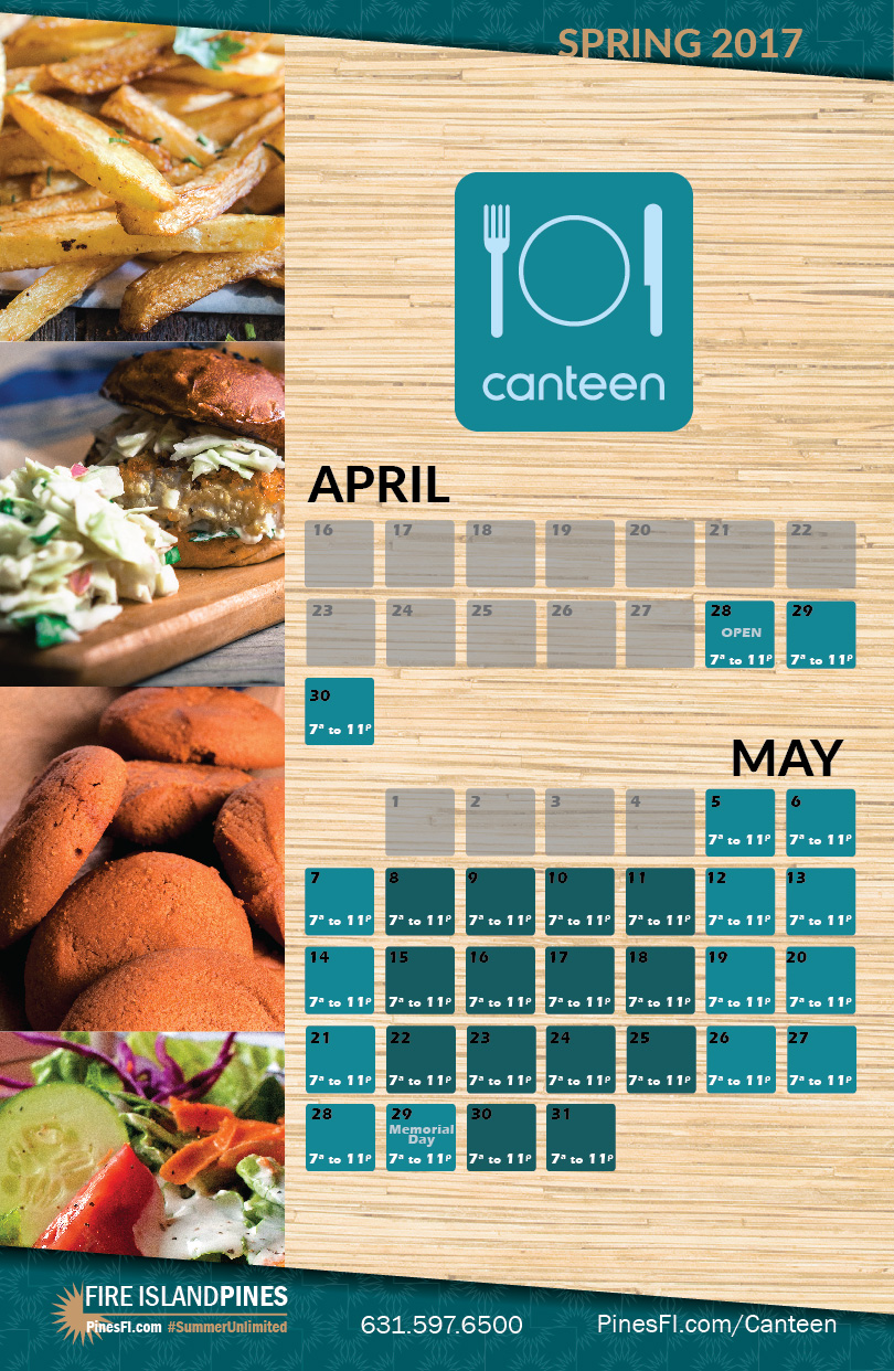 <b>Canteen</b> | Weekends<br><b>Starting April 28<sup>th</sup>!</b>
