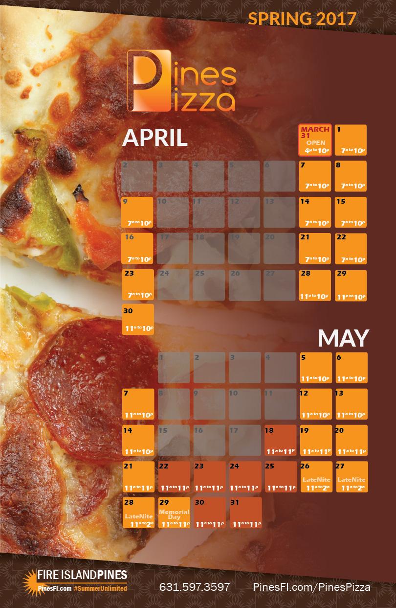 <b>Pizza!</b>   Open 4U<br><b>Early April Hours</b>